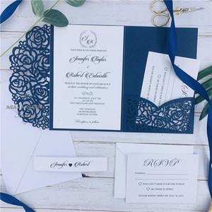 Suites de invitación de boda de bolsillo con corte láser azul marino, personaliza invitaciones con sobre, envío gratuito por UPS