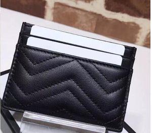 حامل بطاقة مصمم رجل إمرأة حامل بطاقة الأسود من جلد الخراف البسيطة محافظ عملة محفظة جيب فتحة الداخلية جيب جلدية حقيقية كاميليا
