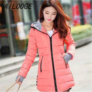 AILOOGE Women Winter Hooded Warm Coat Slim Plus Size Candy Color Cotton Padded Basic Jacket Female Medium-long