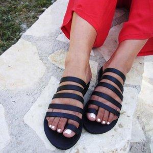 2020 Chinelas femininas Verão Gladiator Sandals Praia Casual Shoes Ladies Plano salto Strap Sandálias Roman sapatos flip Feminino aleta