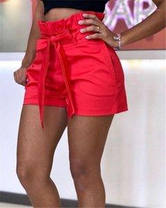 Calças largas Legged Womens favoritos mediana cintura Shorts Calças Ladies Relaexed Cacual Calças Curtas Sashes bolso de Verão