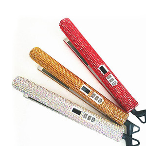 حار بيع الثور 105 الكريستال الحديد المسطح البريق 2 في 1 بلينغ الماس صحة الأم والطفل المهنية الشعر الضفر فرد أدوات التصميم
