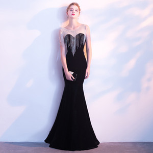 Sexy banquete Vestido de noche Dignified Atmosphere Company Reunión anual Vestido largo Fondo largo Cola de pescado negro Dama de honor Servir