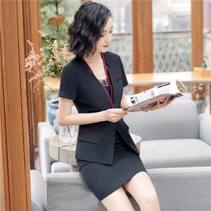 Business formal women skirt suit summer fashion elegant short sleeve blazer and skirt office Interview plus size Work wear blazer+skirt suit