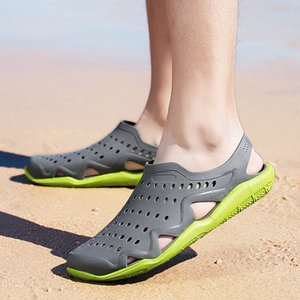 2019 Spring Summer New Style Men Wading Porous Shoes Jelly Sandals Closed-toe Soft-Sole Breathable Sandals