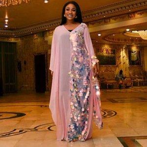 Vêtements africaine pailleté Rose Maxi robe élégante encolure en V à manches longues en vrac Robe de Soirée Robe Holiday Beach Veatidos