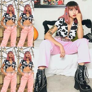 2020 Marque femmes modèle récent de vache Débardeurs Femmes Sexy Summer Tops manches courtes col en V profond vache imprimé T-shirt décontracté