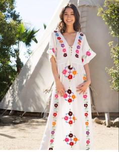 Envio grátis Vestido de flores bordadas Novo em 2019 estilo resort à beira-mar Saia longa boêmia Saia de algodão de alta qualidade estilo férias