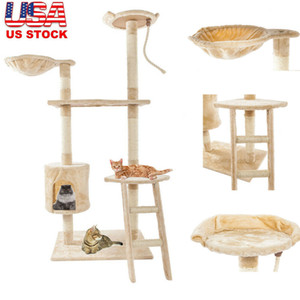 60 inch Cat Tower House Cute Sisal Rope Plush Cat Climb Tree Cat Pet Toy Play Exercise Tower Beige Free Shipping