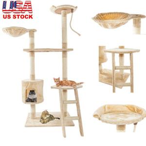 60 pouces Tour Cat Maison Mignon Sisal Corde en peluche Chat Climb Arbre à chat Pet Jouet exercice Tour Beige Livraison gratuite