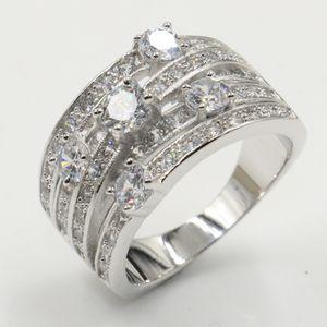 Jóia luxuosa da infinidade real 925 Sterling Silver Desconto Big Banda White Clear Topaz CZ Eternity Diamond mulheres anel de casamento Net por Mulheres