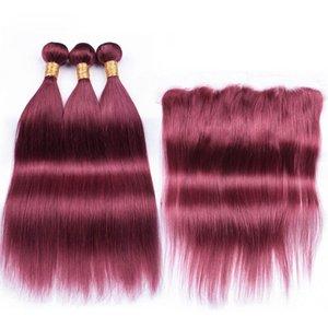 Цветные Burgundy Straight Remy человеческих волос Weave Связки с 13X4 Lace Фронтальная Закрытие Бесплатная доставка
