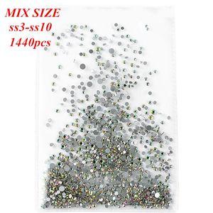 Şeffaf Düz Tabanlı Çok boyutlu Manikür Tırnak Sanat 3d Dekorasyon 065 ile ss3-SS10 Mix Boyut 1440pcs Ab Renk Tırnak Yapay elmas