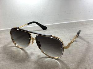 Altın / Siyah Pilot Güneş Gri Mavi Gölgeli Lens Güneş Gözlük Gafas de sol Erkek Güneş Shades kutusuyla
