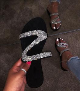 2019 mode chaussures pour femmes diamant sandales plates pantoufles mode sexy, boîte