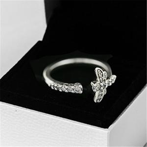 2020 Nouveau printemps 100% 925 bijoux en argent sterling européenne Pandora Sparkling Dragonfly ouverte Bague pour femmes Bijoux
