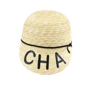 2019 Nouvelle Mode CHA Lettre Caps De Haute Qualité Tissage De Paille Chapeaux Simples pour Femmes Respirant Cool Sun Chapeaux