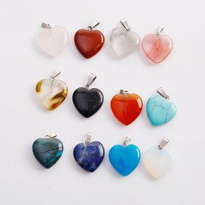 Charms fubaoying a forma di cuore amore Gemstone mix colore pendenti branelli allentati per bracciali e collane di fascini gioielli fai da te per le donne regalo gratis