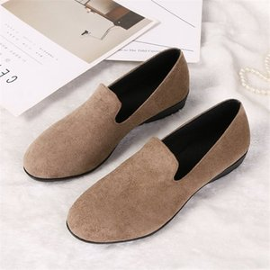 Ho Heave Women Big Code Flats Shoes 2019 New Style Fashion Shoes Women Slip On Shallow Flock Loafers Female Light Lazy Flats