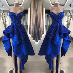 2019 Vintage Royal Blue Short High Low Prom Dresses Una linea in rilievo Appliques Sweetheart asimmetrica abiti da sera lunghi