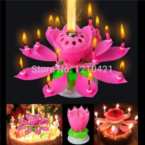 Free shipping 2Pcs Set Amazing Romantic Musical Lotus Rotating Happy Birthday wedding Candle Y200531