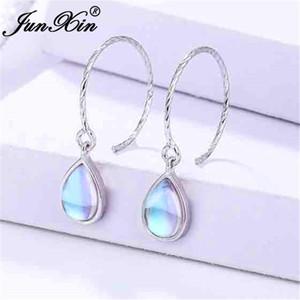 JUNXIN Real 925 Sterling Silver Clear Moonstone Hoop Earrings For Women Rainbow Opal Earrings Female Big Hook Jewelry