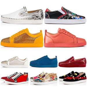 Новый дизайнерский бренд Шипы Шипованные Flat Повседневная обувь Low Cut Mens Women S Заклепки Luxury Открытый кроссовки 35-47 DANCEGO