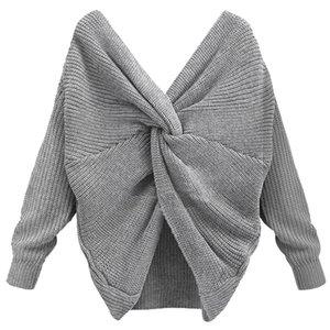 Sexy dos ouvert Pull femmes Big Tie V-Neck pleine manches Pulls unie Couleur Bonneterie overs dropingship Knitwear élégant