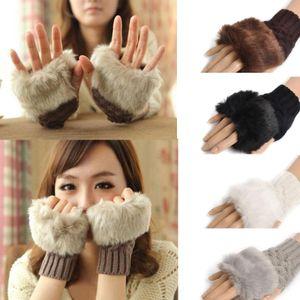 Lã Mista Luvas Artificial Fur senhoras Fingerless Luvas de malha Crochet inverno mais quente Evening Gloves 60pairs OOA7134