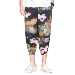 MISSKY Männer Hosen Bloomers Leinenhosen abgeschnitten Lotus lose Füße Radish Cotton Harem Ethnic Art-Blumen-Männer Hosen Drucken