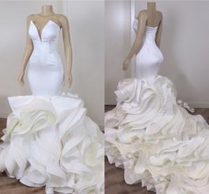 Каскадные оборки органза Русалка Свадебных платьев Sexy Backless Милого Длинный Поезд Люкс Свадебные платья сшитые 2020