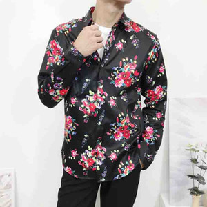 2019 fashion new Medusa men's shirt silk 3D color printing Slim long sleeve dress shirt casual Harajuku men M-2XL