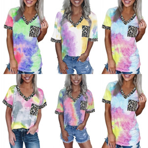DHL Shipping Women's Leopard Pocket Summer Tops Short Sleeves Fashion Casual Patchwork V Neck T Shirt Casual Basic Tees 5 Styles B88F