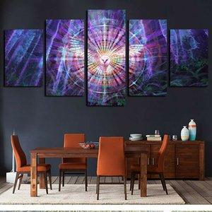 5 Панели Фотографии Картины на холсте стены искусства Psychedelic Kaleidoscope Сова птица Giclee холст и плакаты произведения
