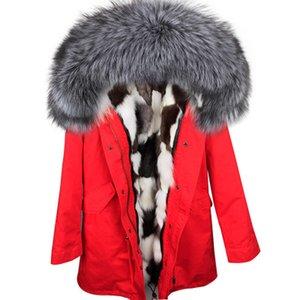 Schnee Mäntel silbergrau Fuchspelz trimmen Maomaokong Marke Schwarz-Weiß-Raster Fuchspelz-Futter Frauen langen roten Parkas