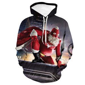 Autumn and Winter New Guard Men Cartoon Santa 3D Printing Trend Loose Guard Clothing Casual Baseball Uniform