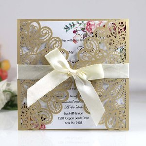 Dark Blonde Spring Flower Print Laser Cut Wedding Invitations with Ribbon Personalized Quinceanera Invites Fold Greeting Cards