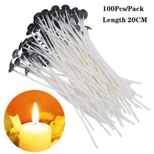 100Pcs Pack 20CM Candle Wicks Cotton Core Pre Waxed With Sustainers for DIY Making Candles Gifts Supplies