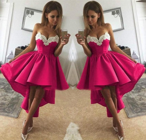 2020 Fuschia Satin Ruched High Low Short Prom Dresses with White Applique Sweetheart Cocktail Party Homecoming Dress Bride Graduation Dress