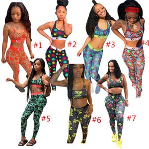 تصميم أزياء النساء رياضية FORAL طباعة الصدرية المحاصيل الأعلى + سروال اللباس 2 قطعة تتسابق Sleevess ملابس الهيئة غير الرسمية بدلة رياضية 7 ستايل