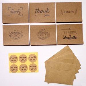 6pcs Kraft Thank You Cards 6pcs Paper Envelopes Seal Stickers Set Wedding Party Kraft Greeting Message Cards Envelopes Set