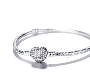 top venda 925 pulseiras de prata esterlina 3mm cobra corrente da Fit encanto Bead Coração Amor Bracelet Bangle Jewelry Presente Para Homens Mulheres W75