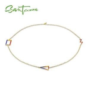 SANTUZZA laiton collier pour Femme Collier coloré pendentif géométrique émail HANDMADE Party Bijoux Fashion
