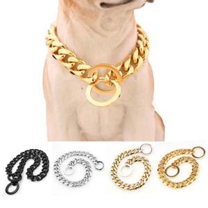 24-32 дюйма из нержавеющей стали скольжения Pet Dog Chain Heavy Duty Training Choke цепи Ошейники для больших собак Регулируемая по контролю безопасности Gold Silver