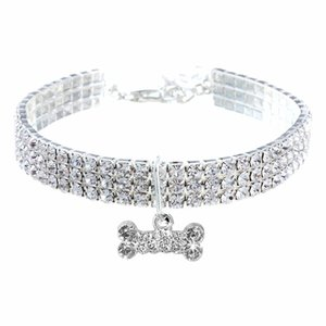 2020 Beautiful Three Rows of Elastic Diamond Pet Collar Cat and Dog Jewelry Diamond Collar Top Quality