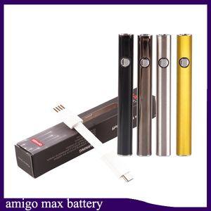 Batteria di preriscaldamento originale di Amigo Max 380mAh VV di tensione variabile Mod Vape per 510 olio di serpente Liberty V9 Cartucce di vaporizzazione 2223007-1