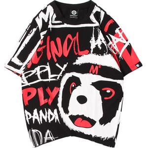 Été conception originale de bande dessinée amants de panda de graffiti imprimé cou à manches courtes grands chantiers à court Slee Hotest vendeur rond
