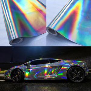 2X30 * 100 cm Plateado Láser Cromado Vinilo Holográfico Auto Car Wrap Film Rainbow Car Body Decoration Chrome Sticker Sticker Decal