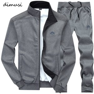 Dimusi Erkekler Moda Sonbahar İlkbahar Spor Suit Sweatshirt + eşofman ayarlar Erkek Giyim 2 adet İnce Eşofman Kapüşonlular T190830 ayarlar