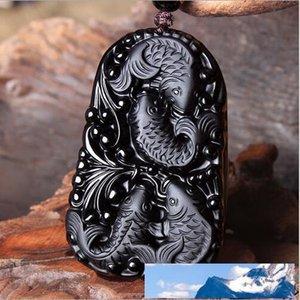 Wonderful Chinese Handwork Natural Preto Obsidian Carved Happy Fish Reunion Sorte Blessing pingente de colar de moda jóias